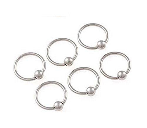 Distinct® 4PCS acciaio chirurgico del cerchio Anello Piercing sfera di chiusura per labbro dell'orecchio capezzoli naso per sopracciglia (argento)