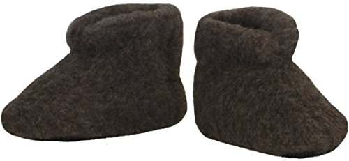 SamWo,Fußwärmer Hausschuhe 100% Schafwolle braun Naturbraun