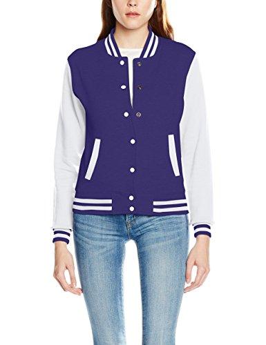 College Fashion Kostüm - Urban Classics TB218 Damen Jacke Ladies 2-tone College Sweatjacket, Mehrfarbig(pur/wht), X-Small