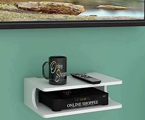 Onlineshoppee MDF Beautiful Design Set top Box Wall Shelf  Number of Shelves   2, White