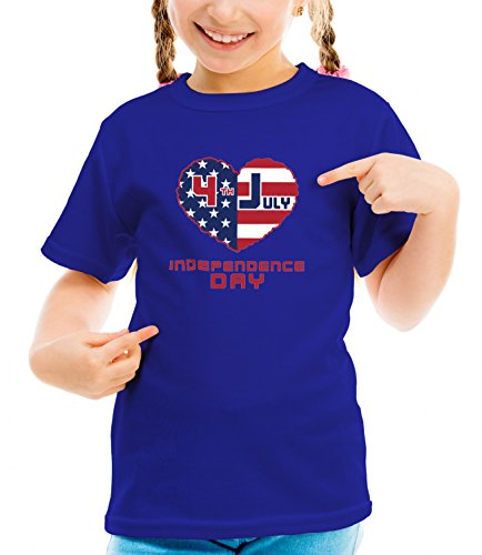 Catch T-Shirts - American Independence Day Flags Collection Girls Classic Crew Neck T-Shirt Dark Blue Large