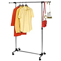 Tatkraft Pegasus Adjustable Garment Rack   Coat Hanging Rail   Clothes Stand with Wheels   Clothes Rail with Strong Base   84–136(W)*45(D)*90–158(H) cm   Stainless Steel