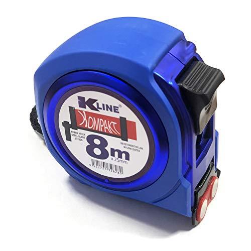KELI FRANCE - K•LINE - Mètre Ruban Compact magnétique Professionnel, bi-matière, Rigidité maximum 2,2m de tenu, Quadruple accroche, Ruban Extra Large de 25mm (8 Mètres x 25mm)