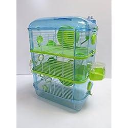 Fantazia Grande Cage De Hamster, 2 & 3 niveaux (3 Tier, Blue & Lime)
