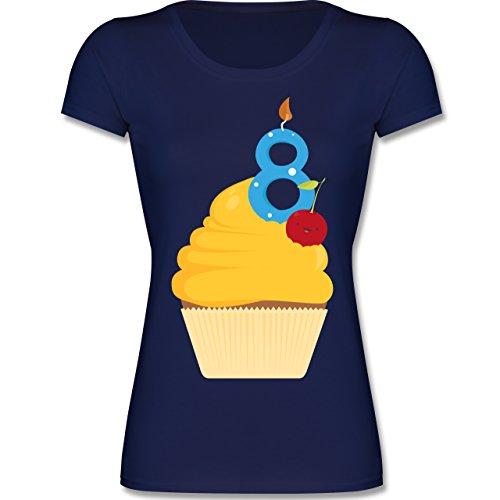 Geburtstag Kind - 8. Geburtstag Cupcake - 140 (9-11 Jahre) - Dunkelblau - F288K - Mädchen T-Shirt (Cupcake Kinder T-shirt)