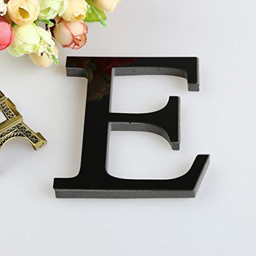 3D DIY 26 Letters Mirror Sticker, Indexp Creative Symbol Acrylic Creative Home Decorative Art Window Wall Decals (Black, E)