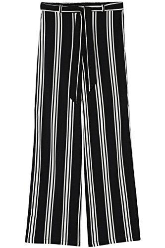 FIND Damen Gestreifte Hose mit weitem Bein Schwarz (Black)