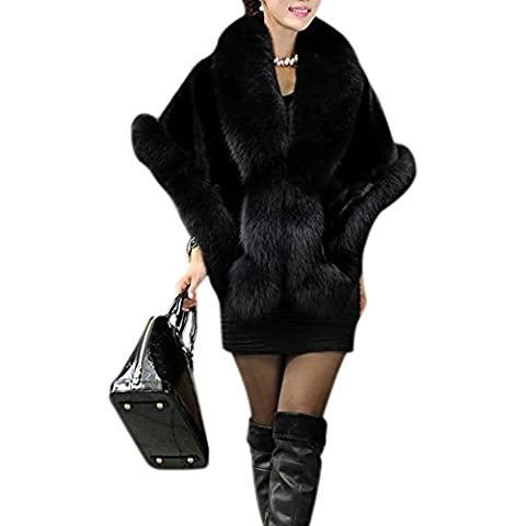 LaoZan Chal de de Piel Sintética Cárdigan Chaqueta Abrigo Elegante y Cálido para Invierno - Negro -