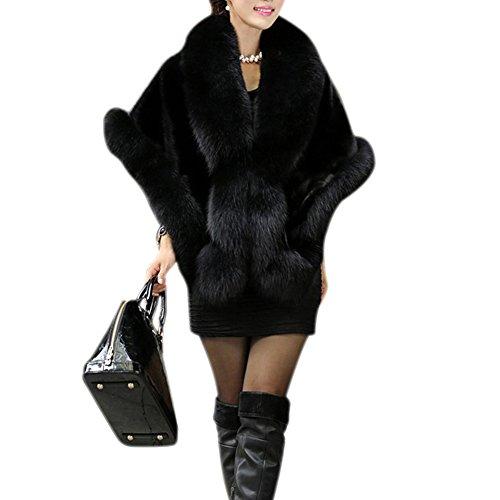 Laozan donne festa wedding moda scialli elegante inverno eco - pelliccia avvolgere scialle capispalla - nero - large