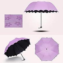 Carre Mark Arrugas Paraguas Bloom Flores en el Agua de Lluvia Resistente al Viento Protección Solar