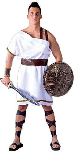 Kostüm Das Griechenland Antike - Fancy Me Herren grichischer Spartaner Sparta Krieger 300 Film Soldaten Antike Griechenland historisch Kostüm Kleid Outfit groß - Weiß, Medium