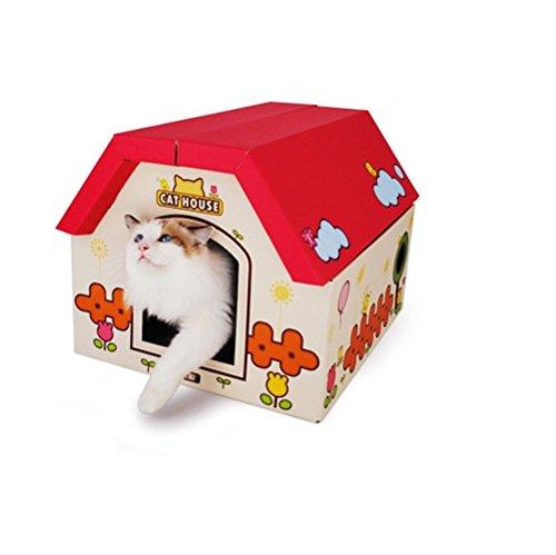 DJVD Wellpappe Cat Scratcher Lounge Haus Bett DIY Kombination Montage Schleifen Klaue Katze Mit Fenster Cat Entertainment Rest Dual-Use-Katzenspielzeug