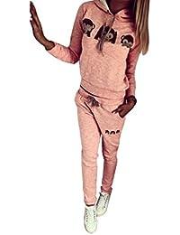 Baymate Mujer Mono de Historieta Sudadera con Capucha Chándal y Pantalones 2pcs Conjunto