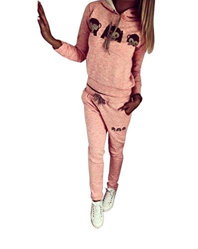 Anzug Mit Pullover (Baymate Damen Trainingsanzug Affe Muster Drucken Hoodie Sweatshirt Anzug mit Hose 2pcs Rosa)