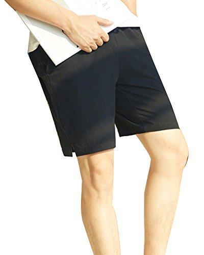 LaoZanA Pantalones Cortos De Lino Hombre Anchos Baggy Casual Cintura  Elástica Delgado Bermudas Shorts Negro 4XL 2f837656bd93