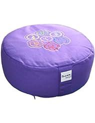 Tvamm lifestyle - Cojín redondo de meditación (Zafu), alforfón, diámetro 36cm x 15cm, diseño de los 7 chakras, funda y relleno 100% algodón, lavables en lavadora hasta 30 ºC, morado