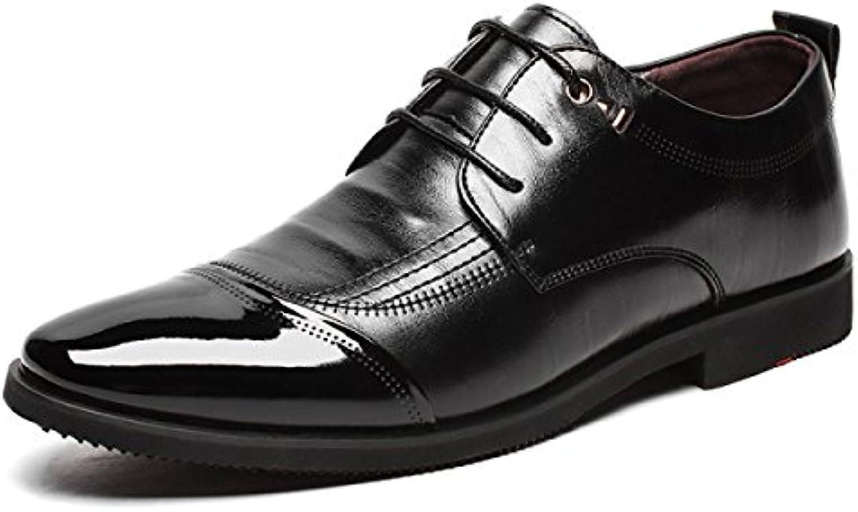 FZHLY Zapatos De Vestir Para Hombres Zapatos De Cuero Ocasionales Para Negocios Zapatos De Caballero,Black-42  -