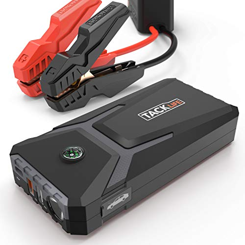 TACKLIFE T8 MIX Avviatore di Emergenza - 500A 12000mAh Avviatore Auto Portatile (Benzina Fino a 4.0L e Diesel 2.0L), 12V Jump Starter con USB Porta di Ricarica Rapida, LED Torcia Elettrica con Bussola