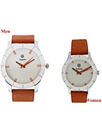 Rabela Women's And Men's Analog Watch White Dial Brown Leather Strap Watch VAL002