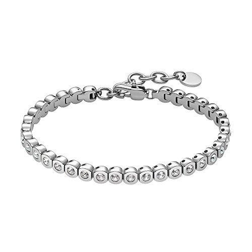 Heideman Armband Damen Amilla II aus Edelstahl Silber farbend poliert Tennisarmband mit Swarovski Steinen Weiss mit Verlängerung Armkette Schmuck