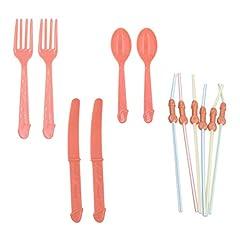 Idea Regalo - Amosfun 24 pz Addio al Nubilato stoviglie di plastica USA e Getta forchette cucchiai coltelli e cannucce addobbi per Feste Decorazioni per la tavola
