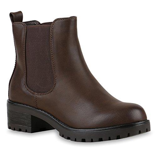 Gefütterte Damen Chelsea Boots Plateau Stiefeletten Profilsohle Dunkelbraun