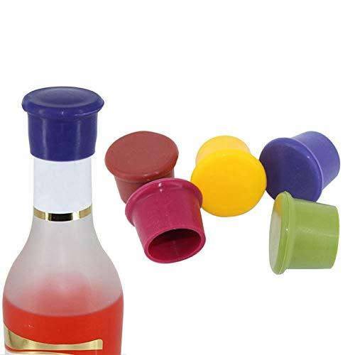 K-Fang-Glas, 5 Teile/Paket Silikon Wein Stopfen Auslaufsicher Weinflasche Versiegelungen for Rotwein und Bier Flaschenverschluss Zufällige Farbe (Size : 5Pcs) - Karaffe Tasse 5 Kaffee