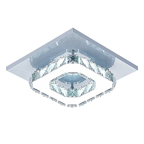 DAXGD Lámpara de techo de cristal Lámparas de techo Espejo de acero inoxidable LED 12W moderna lámpara de cristal para sala de estar, dormitorio