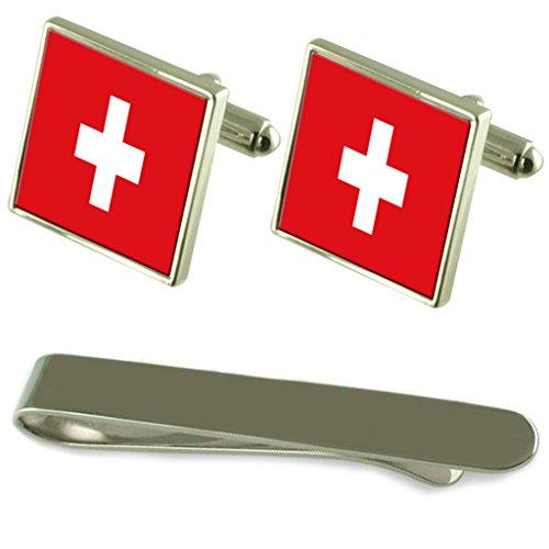 Flagge Schweiz Silber Manschettenknöpfe Krawatten Geschenkset mit Gravur