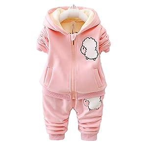 Unique Life - Abrigo de Cintura cálido para bebés y niñas con diseño de otoño + Sudadera + Pantalones, 3 Piezas, Traje… 9