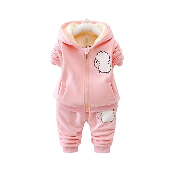 Unique Life - Abrigo de Cintura cálido para bebés y niñas con diseño de otoño + Sudadera + Pantalones, 3 Piezas, Traje… 1