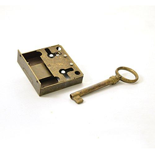 Kastenschloss (Dornmaß 30 mm) und Schlüssel aus Messing