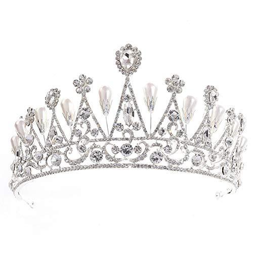 Pageant Queen Kostüm - Demarkt Hochzeit Crown Brautkrone Rhinestone-Kristall Blütenform Dekoration Stirnband Schleier Tiara der Königin Size 16cm*8cm (Silber)
