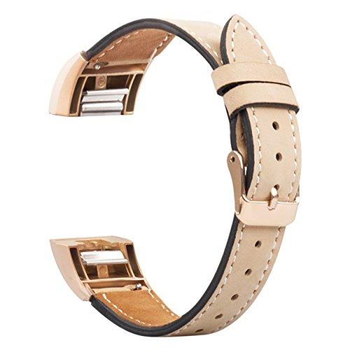 Wearlizer Für Charge 2 Zubehör Band, Lux Echtes Leder Ersatzbänder für Fitbit Charge 2 Sonderausgabe - Rose Gold Buckle Nubuck Braun