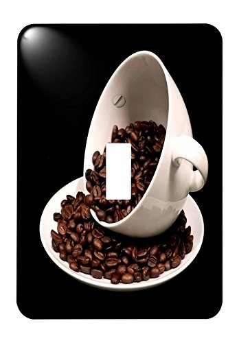 3drose (l.s.p. 213571_ 1) Foto von eine Kaffeetasse voller Kaffee Bohnen Soße über Single Toggle Switch Single Lichtschalter