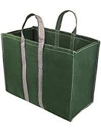 NISUN Large Size Canvas Vegetable Grocery Shopping Bag 16x8x13 inch Green