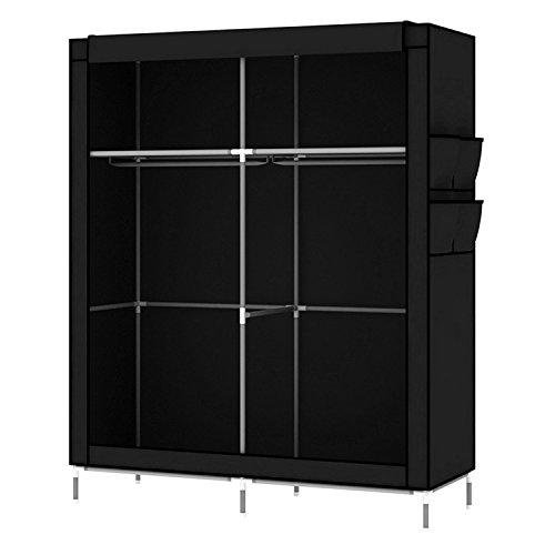 Intirilife armadio guardaroba pieghevole 108x170x45 cm in nero corvo - cabina tessuto con anta richiudibile, cerniera zip e appendiabiti - camera da letto custodia de campeggio
