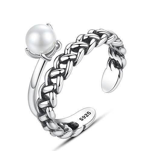 MOOKO Ringe Für Damen S925 Sterling Silber Perlenring 5-6Mm Natürlicher Süßwasserperlenschmuck Verstellbaren Ringen Romantisches Geschenk Für Sie Ma