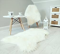 White Ivory Sheepskin Rug With Extra Thick Wool Genuine Size L (100-110 )