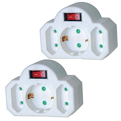 Eurosell - 2 Stück Mini Steckdosenleiste 3-fach Euro Verteiler steckdose weiss 3er 3fach Adapter Stecker Euro Weiche + Schalter schaltbar Ein Aus