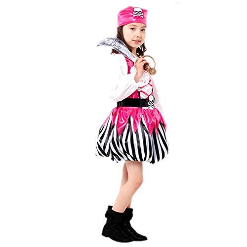 Unbekannt Halloween Kinderkleidung Mädchen Prinzessin Kleid Kleine Hexe Vampir Kostüm Maskerade Show Kleid Kürbis Kleid Athens Luo Rosa Weiblich Pirate King Geeignet für 120-130cm (L)