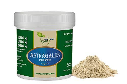 VITAIDEAL Astragalus - Wurzel Pulver 300g (Tragantwurzel Astragal Huang Qi) + Messlöffel. Rein natürliches Pulver, ohne Zusatzstoffe.