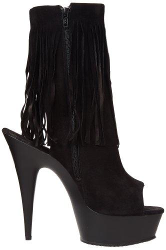 Pleaser Damen Delight 1019 Stiefel, Schwarz Black (Blk Suede/Blk Matte)