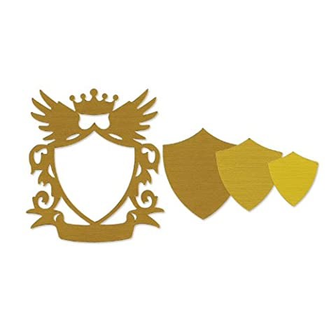 Sizzix Frame Shield with Crown and Wings by Pete Hughes Framelits Die Set, Pack of 3, Multi-Color