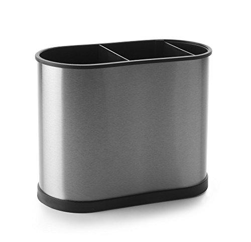 Ibili Prisma Stainless Steel/Plastic Rectangular Utensil Holder, Silver/Black, 22 x 18 cm