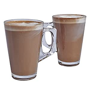 2 X Latte Coffee Glasses Mugs - (1 Pair) - Height 110mm