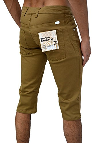 - Design zico jeans pour homme coupe classique 5 poches-coupe droite pinces sergé stretch short Jaune - Sable
