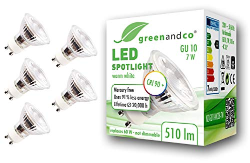 5x greenandco® CRI90+ LED Spot ersetzt 60 Watt GU10 Halogenstrahler, 7W 510 Lumen 3000K warmweiß SMD LED Strahler 36° 230V AC Glas mit Schutzglas, nicht dimmbar, flimmerfrei, 2 Jahre Garantie