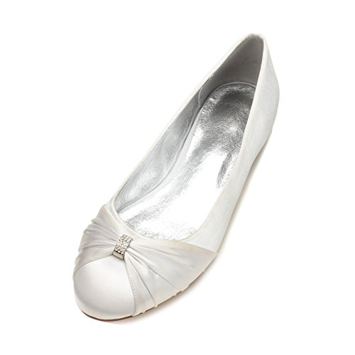 Qingchunhuangtang@@ Im Frühjahr und Sommer Schuhe mit Flachem Boden Einzelne Schuhe Flache Schuhe Hochzeit Brautschuhe mit Seide Satin Runden Kopf Büro- und Elegante Frau Schuhe, 44 m, Weiß