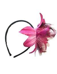 Bande de cheveux/fascinator, belle lys de tissu satin avec pétales de tulle à pois et des plumes